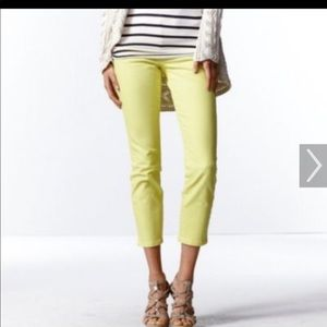CABI skinny cropped jeans in yellow